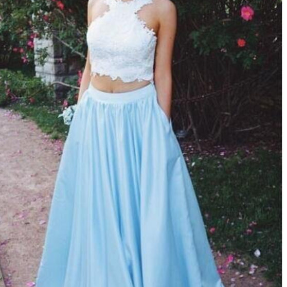 Two Piece Prom Dress,Lace Top Prom Dresses with Pockets