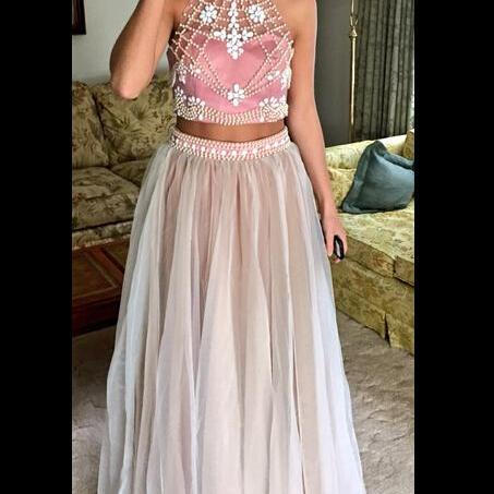 Two Piece Prom Dress,Charming Prom Dresses,Long Prom Dress,Evening Dress,Women Dress