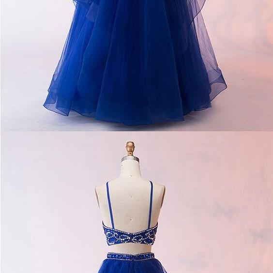 Two Piece, Crew Keyhole ,Royal Blue, Tulle,2018 Prom Dress with Beading Ruffles,evening dress