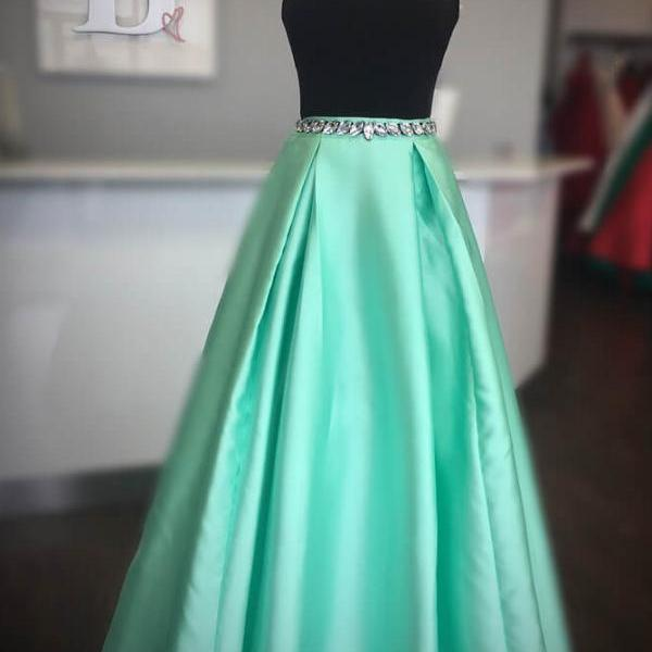 Elegant High Neck Two Piece Black and Mint Green Long Prom Dress