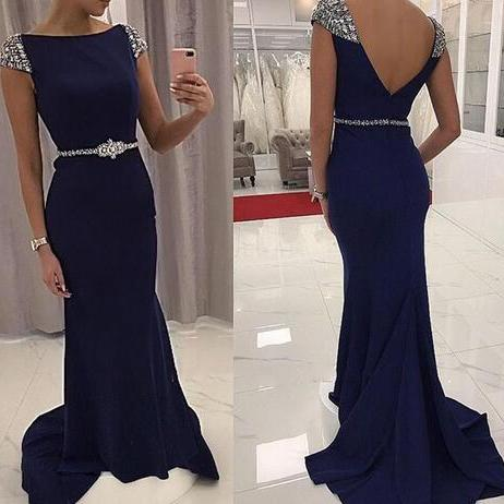 Vintage Navy Blue Mermaid Fomal Dresses Evening Wear Jewel Short Sleeve Beaded Waist Satin Backless Prom Party Gown Mother Of Bride Wear
