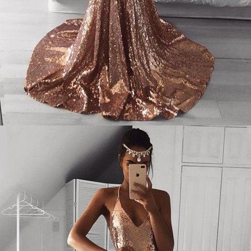 Long Rose Gold Sequins Prom Dresses Mermaid V-neck Evening Gowns