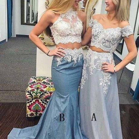 Two Piece Mermaid Off the Shoulder Grey Satin Prom Dress with Lace