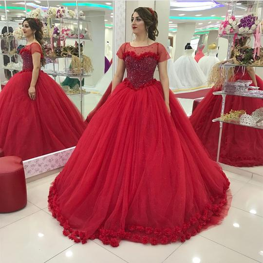 Modest Cap Sleeves Tulle Flower Ball Gown Quinceanera Dresses