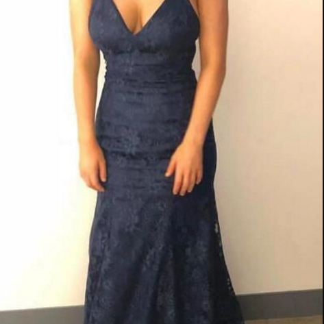 V-neck A Line Navy Blue Lace Mermaid Evening Dress, Sexy Sleeveless Formal Prom Dress