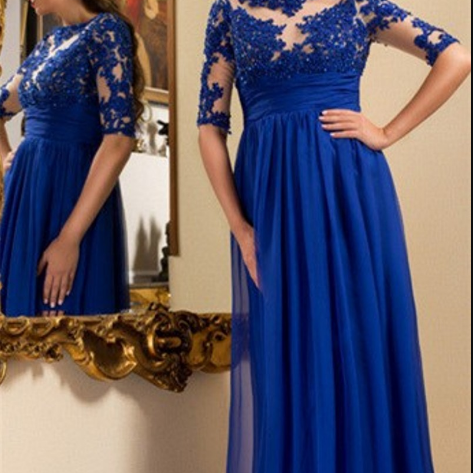 Blue prom dresses,chiffon evening dresses