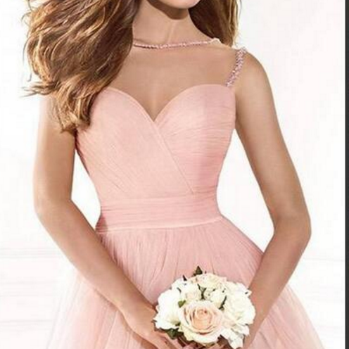 A pink sweetheart with a sleeveless dress. Homecoming Dress, Cocktail Dress,
