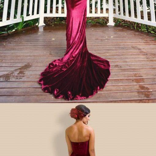 Burgundy Prom Dress,Sweetheart Prom Dress,Velvet Prom Dress,Mermaid Prom Dress,Long Evening Dress,Strapless Prom Dress