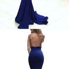 elegant prom dress, royal blue long prom dress, straps mermaid long prom dress formal evening dress