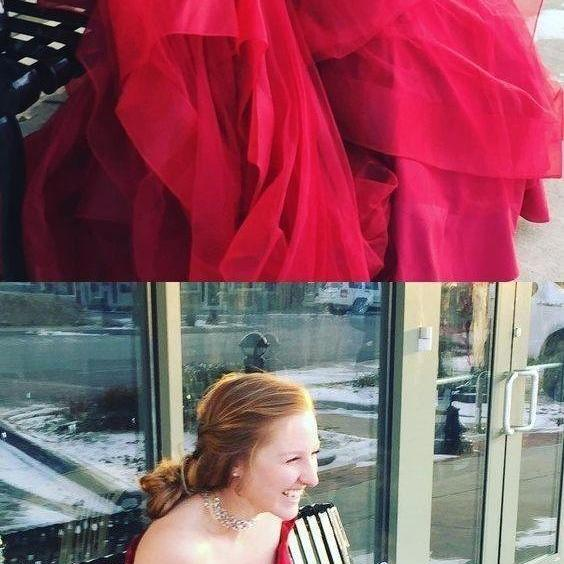 Simple Off the Shoulder Organza Red Prom Dresses Evening Dresses
