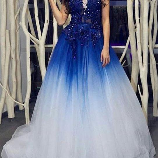 Elegant Royal Blue White Long Prom Dresses with Appliques for Women
