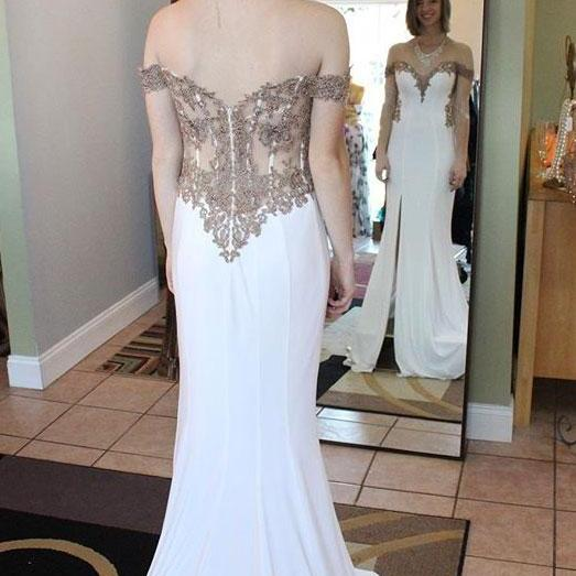 Off the Shoulder Split Side White Prom Dresses Evening Dress Long with Gold Appliques