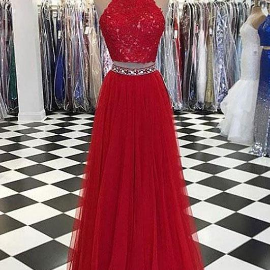 Sexy Two Piece Red Long Prom Dresses with Lace Appliques