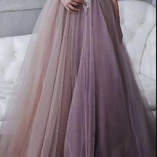 Wedding dress,Smoky Purple, Hand-embroidered Crystals, Open Back / Prom Dress / Evening Dress Floor-Length Lace Bodice, Lilac Prom Dress,High Quality ,Sexy Formal Evening Dress,Custom Made