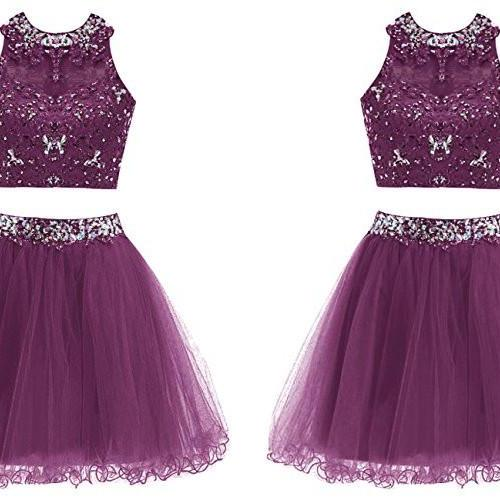 Popular Two Pieces Beaded Homecoming Dresses,Luxury Beading Sleeveless Prom Dresses