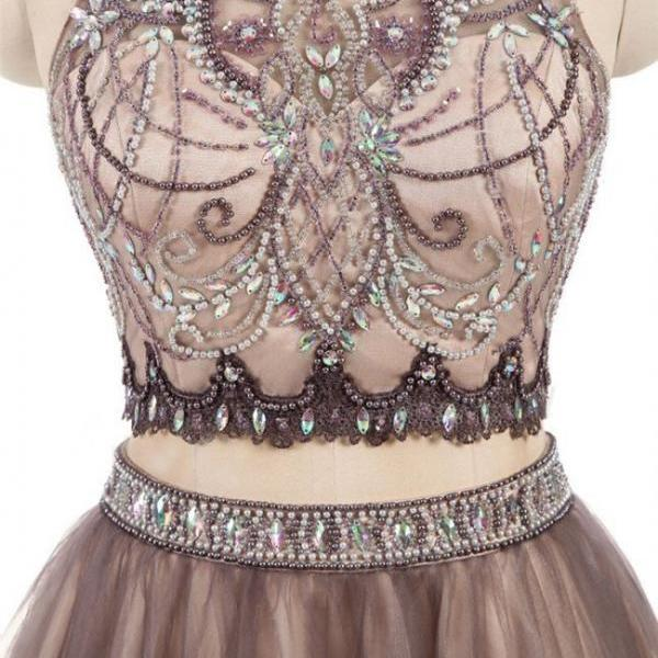 2 Pieces High Neck Rhinestone Beaded Tulle Homecoming Dresses, Short Prom Dresses