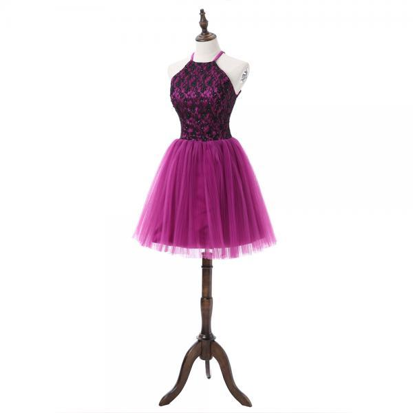 Charming Homecoming Dress, Tulle Purple Homecoming Dresses, Short Prom Dress