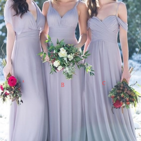 elegant lavender long chiffon bridesmaid dress, simple v neck wedding party dress for bridesmaids