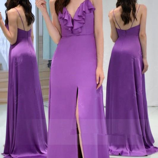 Spaghetti Straps Slit Purple Bridesmaid Dress,Sexy Slit Evening Party Dress