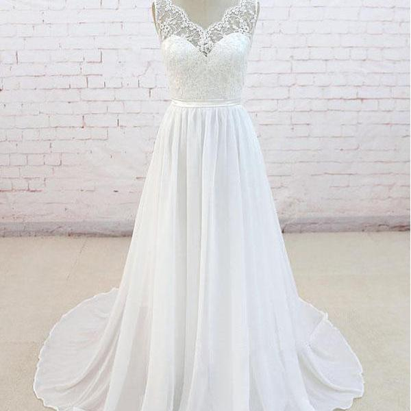 A line Chiffon Beach Wedding Dress,Informal Simple Bridal Dress