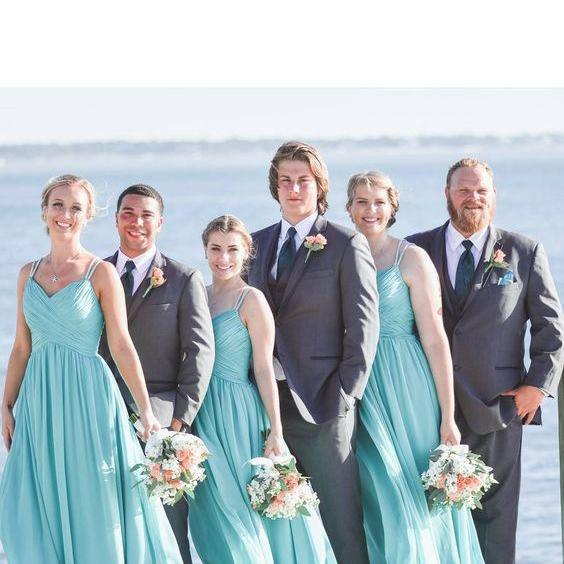 Long Jade Bridesmaid Dress,Simple Cheap Bridesmaid Gown