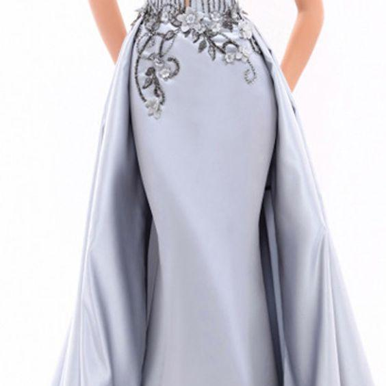 Graceful Satin Scoop Neckline A-line Evening Dress With Beadings & 3D Flowers & Embroidery
