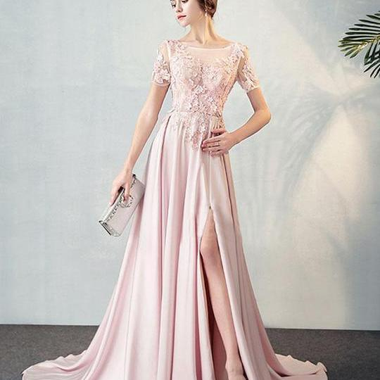 Sexy Bateau Neck Evening Dresses, Short Sleeves Evening Dress,Floor Length Sweep Train Party Gown, Sexy High Slit ,Pink Tulle Prom Dress