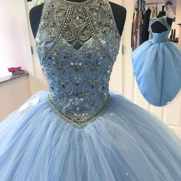 Ball gown prom dresses,Blue A-line Scoop Floor-length Elastic Woven Satin Prom Dresses Evening Dresses