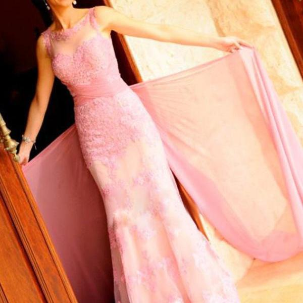 Elegant prom dresses,Pink Sheath/Column Scoop Floor-length Tulle Prom Dresses Evening Dresses