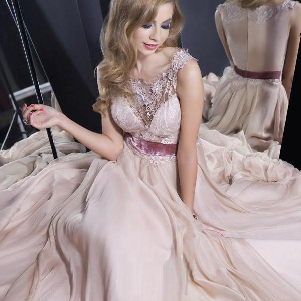 pearl pink prom dresses,Pearl Pink A-line Scoop Floor-length Chiffon Evening Dress Prom Dresses
