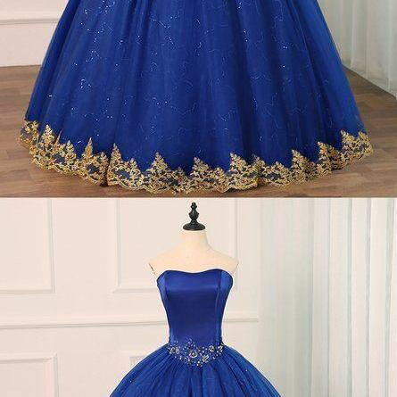 Royal Blue Tulle Strapless Long Beaded Formal Prom Dress, Party Dress With Applique