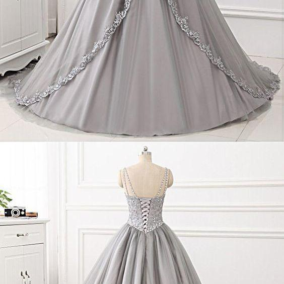 Gray Tulle Lace V Neck Spaghetti Straps Long Prom Gown, Evening Dress