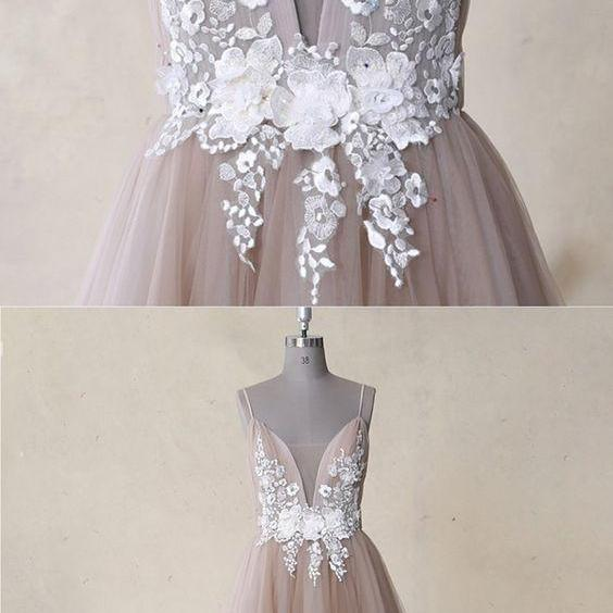 Champagne Tulle Backless Long White Lace Applique Evening Dress, Senior Prom Dress