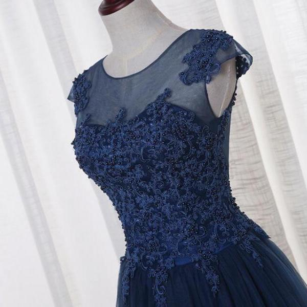 Cap Sleeves Long Tulle Prom Dress Scoop Neck lace Appliques