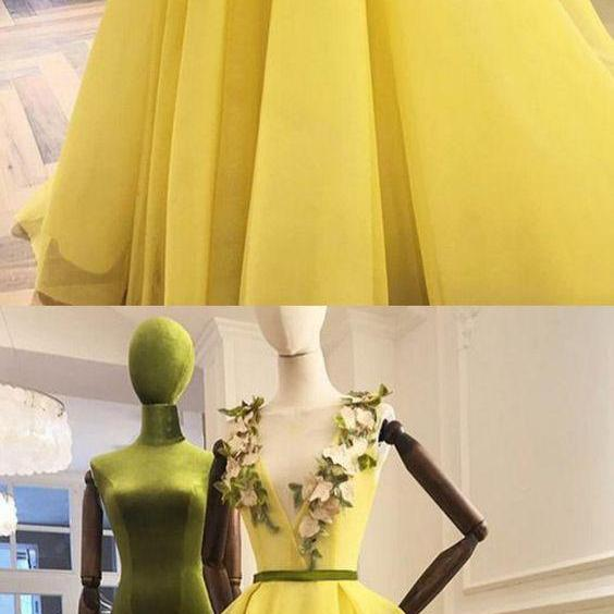 Charming Deep V neck Tulle Prom Dresses, Sexy Long Evening Dresses
