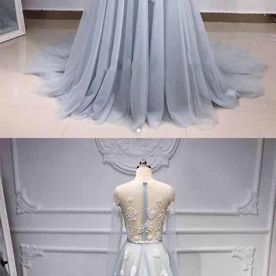 Long Sleeve Appliques Prom Dress, Sexy See Though Long Evening Dress