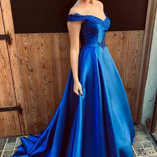 Charming Dark Blue Off Shoulder Long Prom Dress, Sexy A Line Evening Party Gown