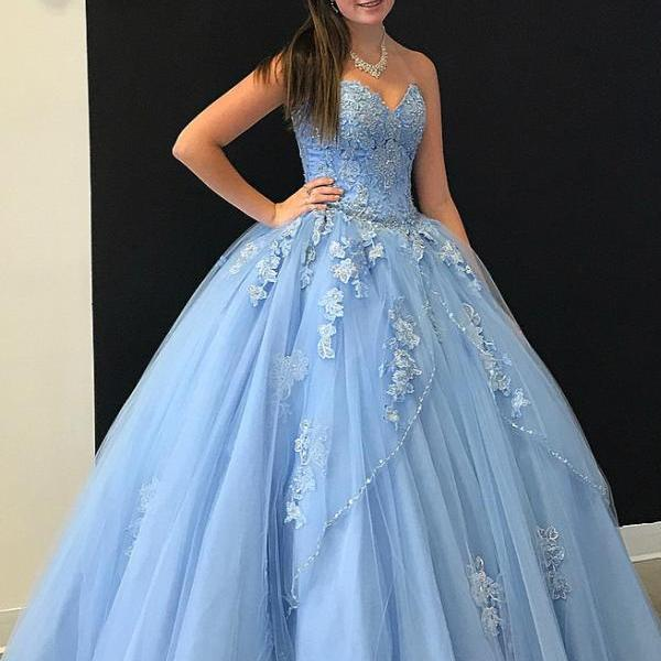 Sweetheart Sky Blue Long Ball Gown Prom Dress Tulle Quinceanera Dress with Appliques, Sweet 16 Dresses