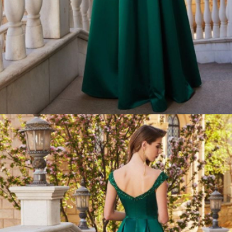 A-Line Off-the-Shoulder Sequin Satin Floor-Length Prom Dresses