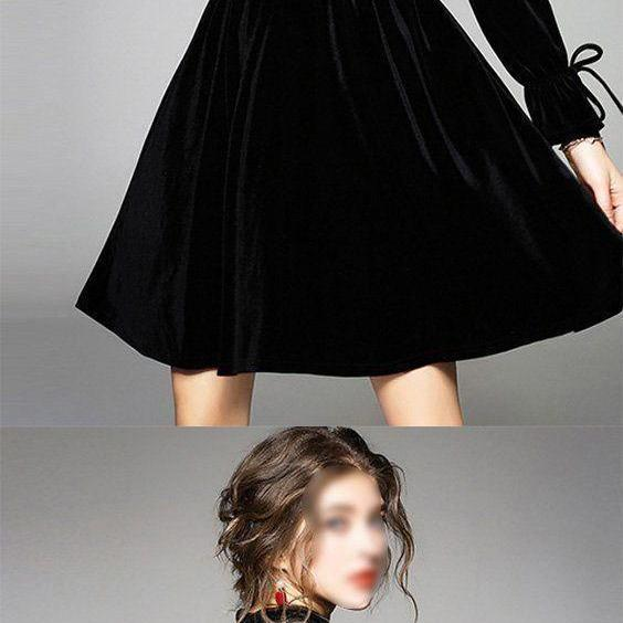 Charming Black Round Neck Long Sleeves A Line Homecoming Dress