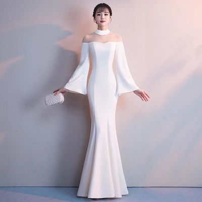 White Mermaid Prom Dress,Long Sleeve Satin Prom Dresses,High Neck Formal Evening Gowns