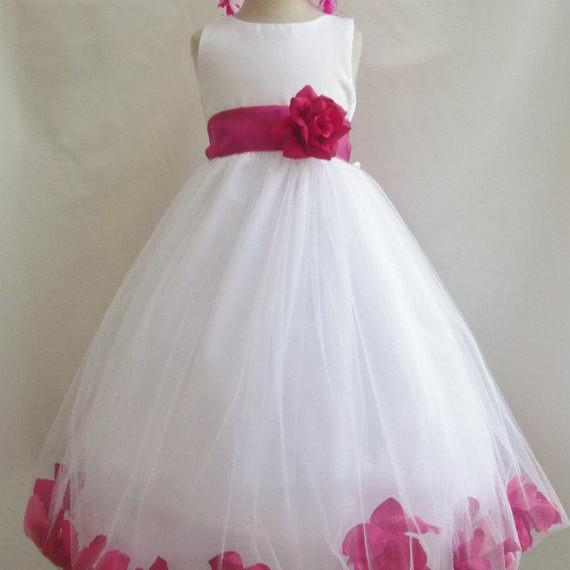 Flower Girl Dresses - WHITE with Fuchsia Rose Petal Dress (FD0PT) - Wedding Easter Bridesmaid - For Baby Children Toddler Teen Girls