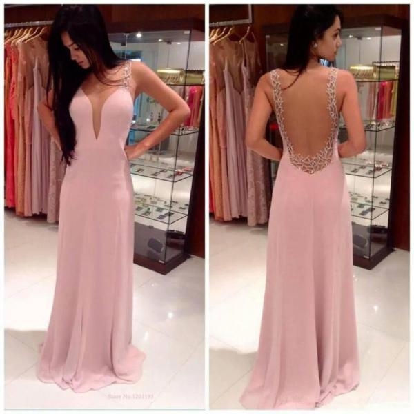 New Arrival Sexy Backless Chiffon Prom Dresses 2015 Party&Special Occasion Dresses Women Gown Prom Dresses Cheap 2014 Summer Style