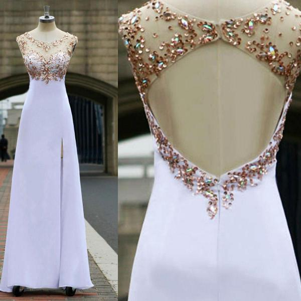 prom Dresses 2015 prom gowns Women's Scoop Neck Sweep Train Beaded Chiffon Bridesmaid dresses