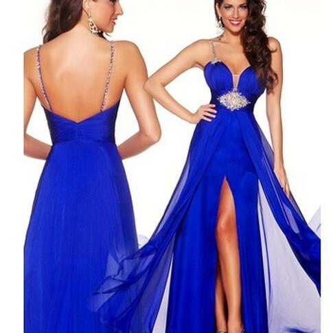 Spaghetti Strap Plunging V Beaded A-line Long Prom Dress, Evening Dress
