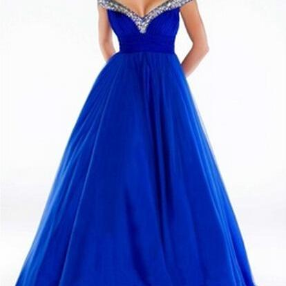 2015 Elegant Royal Blue Evening Dress White Tulle Crystal Beaded Sweetheart Backless Long Evening Dress Prom Party Gowns
