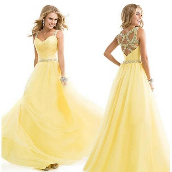 2015 New Hot Bridesmaid Chiffon Prom Dresses Long Evening Gowns Prom Gowns