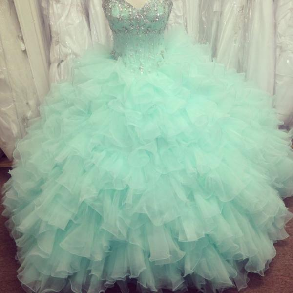 High quality of the decals ball gown PROM dresses in 2016 Pretty Mint Ball Gown Organza Beaded Quinceanera Dresses, Quinceanera Dress, Prom Gowns, Formal Gowns