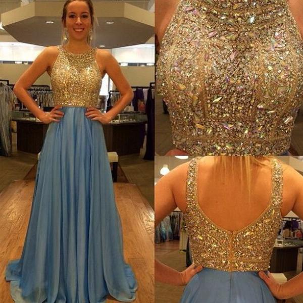Shiny Hot Sales Long Prom Dresses, Light Bllue Gold Prom Dresses,Off The Shoulder Backless Evening Prom Dress,Beaded Prom Gowns,Formal Women Dress