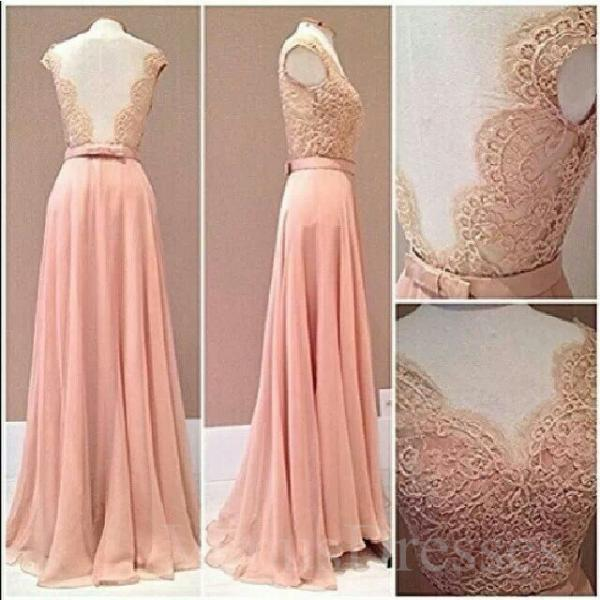 Backless Long Chiffon Prom Dresses Appliques Floor Length Party Dresses